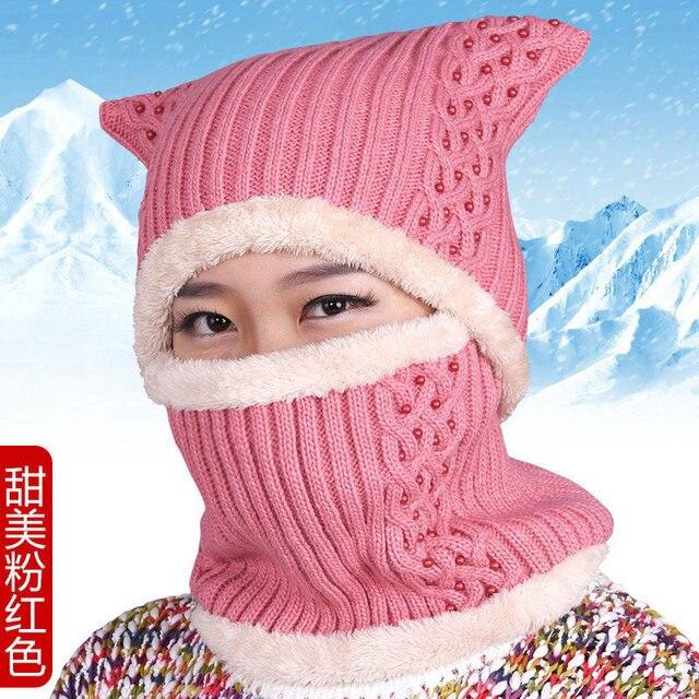 Hat female winter knitted mother hat thickening thermal knitted hat thickening collars pocket hat plus velvet scarf muffler