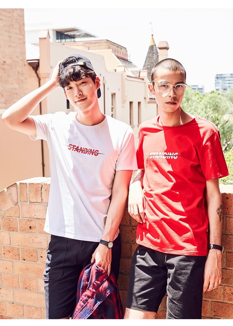 2018Summer short-sleeved T-shirt men's round collar han edition printed youth jacket half - sleeve T-shirt trend men's wear.