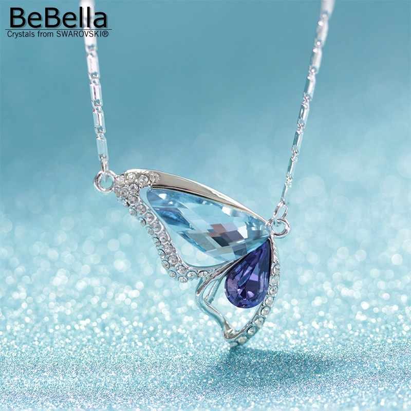 Mujeres 18K Azul Zafiro Diamantes de Imitación de Cristal Colgante Collar de mariposa