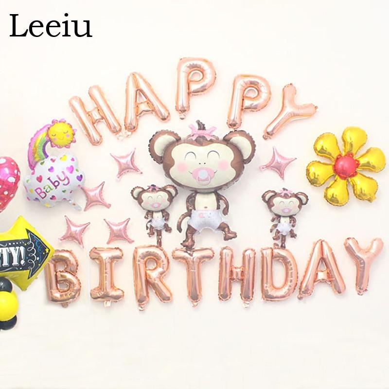Leeiu 16 Inch Alfabet Brief Gelukkige Verjaardag Ballonnen Opknoping - Feestversiering en feestartikelen