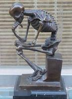 WBY 715 Bronze Marble Art Statue Skull Human SKELETON THINKER Copper Sculpture Home Decoration