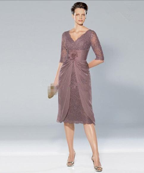 2015 V-neck Lace Purple Knee length Mother Bride Dresses 2M0010 - ebelz forever store