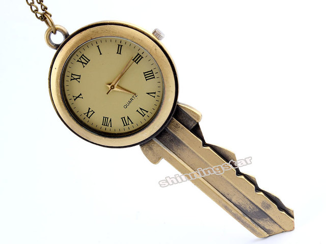 Fashion Jewelry Bronze Key Shape Quartz Pocket Watch Necklace Pendant Women Men