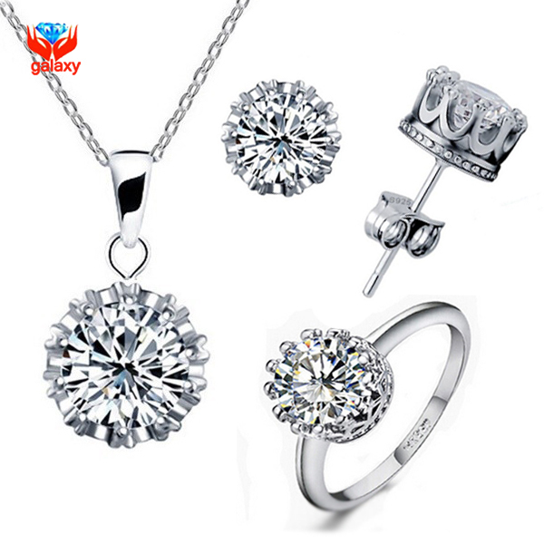 GALAXY Luxury White Pure Gold Plated Jewelry Sets For Women 1ct CZ Zircon Crown Ring Necklace Earrings Bridal Jewelry Sets YS003