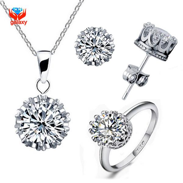 Galaxy luxo branco puro banhado a ouro conjuntos de jóias para as mulheres 1ct CZ Zircon Crown Colar Brincos Anel Conjuntos De Jóias de Noiva YS003