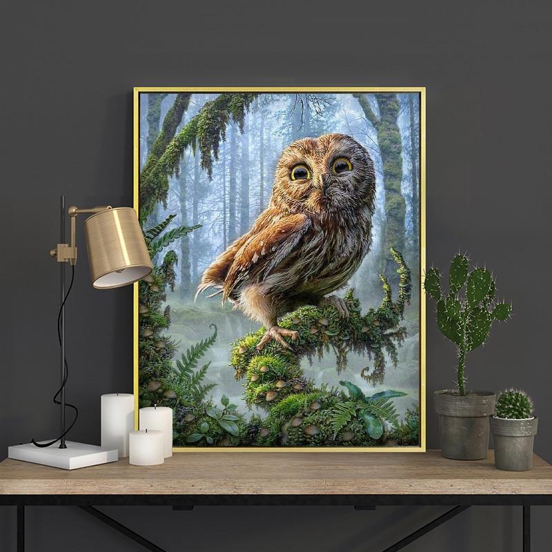 Meian Cross Stitch Embroidery Kits 14CT Owl Animal Tree Cotton Thread Painting DIY Needlework DMC New Year Home Decor VS-0035