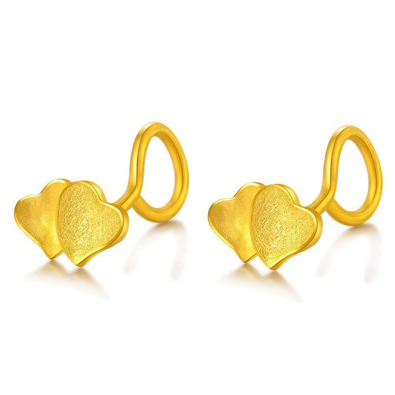 Pure 24K Yellow Gold Stud Earrings 999 Gold Women Heart Stud Earrings цена