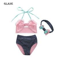 2017 Cute Striped Sailor Child Bikini swimsuit swimwear high waisted bathing suit for kids baby girls Biquini children swimwear