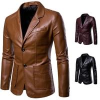2018 Autumn and Winter Hot New Fashion Men's Slim Casual Lapel Wild Color PU Small Suit Men Lapel Leather Blazer