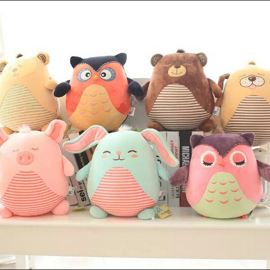 2016 new style 25Cm plush Nanoparticle cloth toys doll pillow cushion pig owl animals birthday Christmas present children toys
