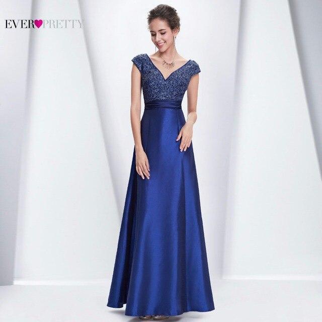 Evening Dress Special Occasion Ever Pretty HE08495 Women Sexy V-neck Ruched Waist  2017 Royal Blue Dress Evening Dress