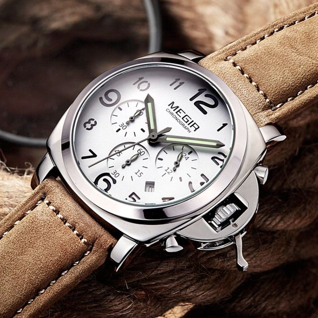 Fashion top brand luxury Leather Quartz MEGIR watches Men Sports Hours Luxury Br