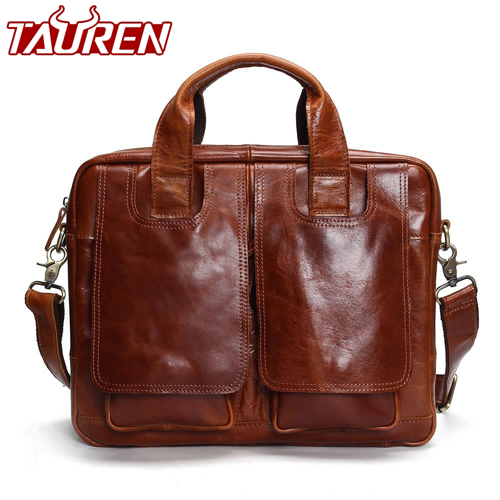 Таурены натуральная кожа сумка Для мужчин Курьерские сумки Briescase Бизнес Для мужчин сумка Высокое качество 2018 сумка через плечо Для мужчин