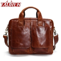 Tauren Genuine Leather Bag Men Messenger Bags Handbag Briescase Business Men Shoulder Bag High Quality 2018 Crossbody Bag Men