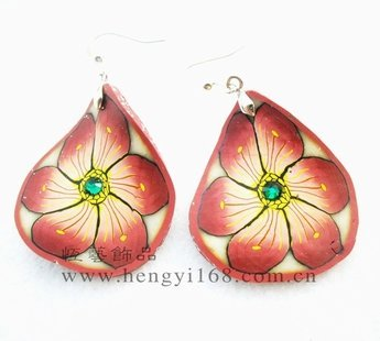 polymer clay Jewelry;New Arrival! Mixed POLYMER CLAY Fruits/Flower Slice shape Earrings Mosaic Crystal size 36mm