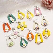 Korean Wooden Tracy Flower Geometric Water Drop Hyperbolic Woman Girls Stud Earrings Fashion Jewelry Holiday-KQQE