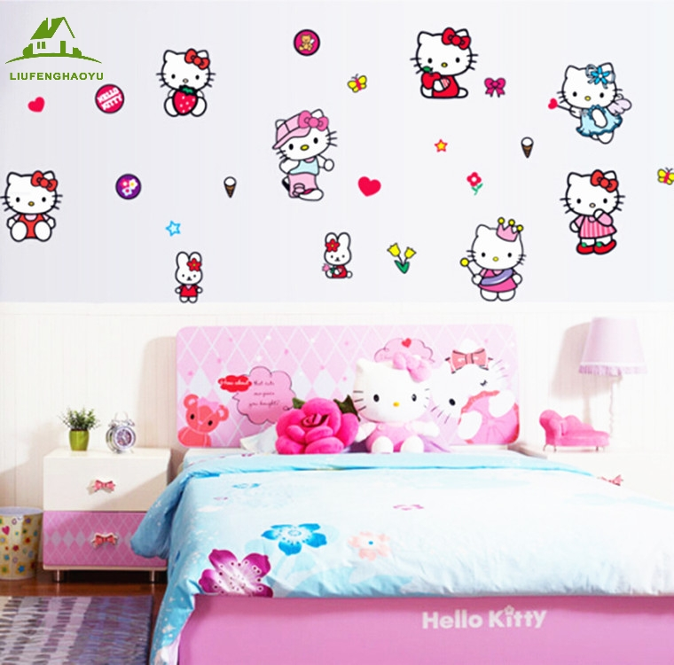 Hello Kitty Princess Wallpaper For Kids Wall Decals Home Decor Living Room  Sofa Vinyl Wall Stickers Part 61