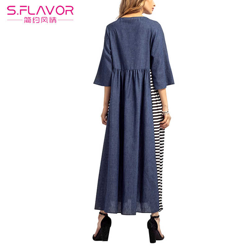 S. FLAVOR Новое джинсовое платье для женщин Повседневное с коротким рукавом длинное платье женское лоскутное Полосатое платье в пол Модное Элегантное Vestidos