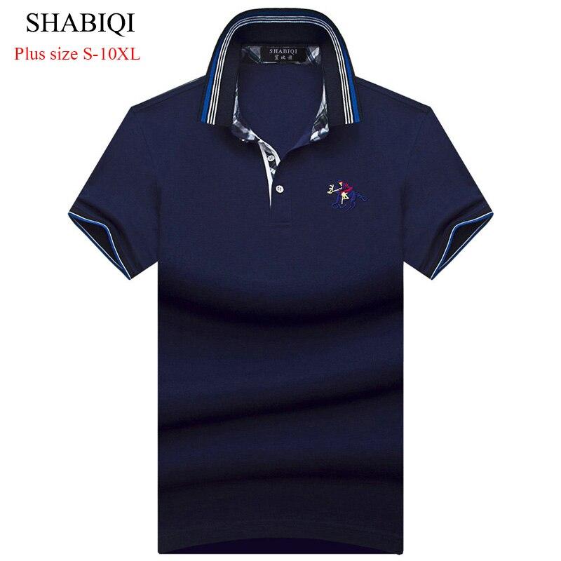 2019 SHABIQI New Match Colors Collar Men POLO Shirts Summer Style Short Sleeve Shirts Camisas Polo Plus Size 6XL 7XL 8XL 9XL10XL