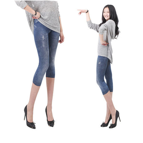Trend pencil Lady's Imitation jeans female capris summer women's   legging   girl trousers Free shipping