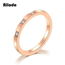Ailodo Titanium Steel Wedding Engagement Crystal Rings For Women Rose Gold Color Couple Rings Fashion Female Jewelry Gifts LD014 цена и фото
