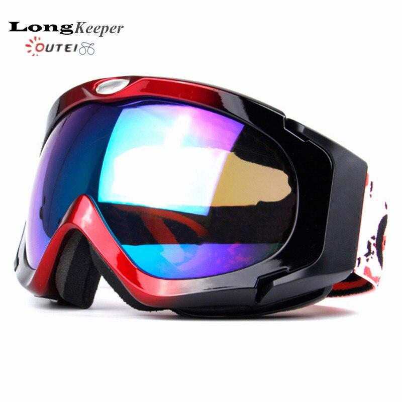 ФОТО New LongKeeper Professional Women Men Snowboard Ski Goggles Anti Fog UV Double Lens Glass Skiing Eyewear With Case H03
