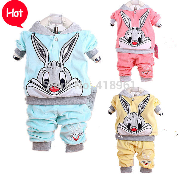 brand baby sets 2016 Spring baby  cartoon rabbit  set twinset long sleeve hoodie and pant children clothing sets free shipping 2017 new spring autumn baby set velvet hello kitty cartoon print hoodie pant twinset long sleeve velour baby clothing sets