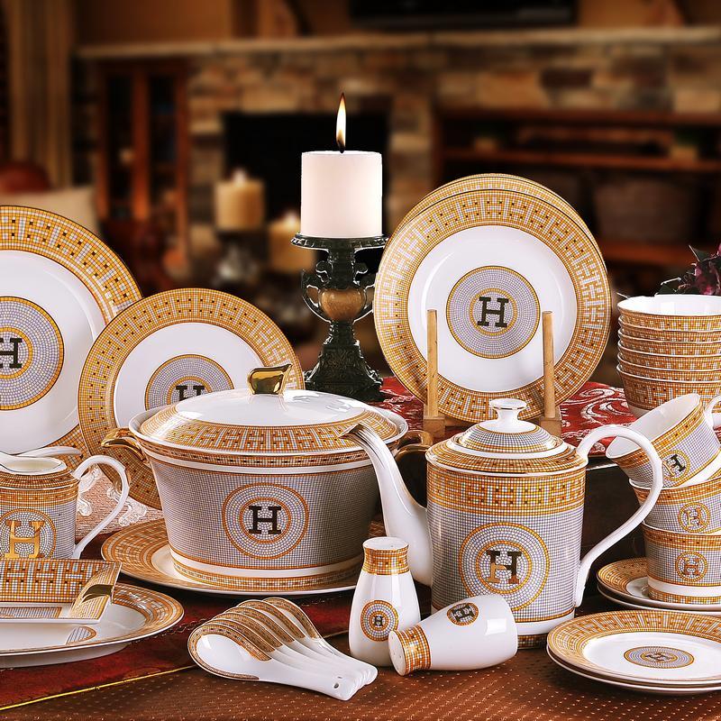 Porcelain dinnerware set bone china  H  mark mosaic design outline in gold 58pcs dinnerware sets dinner set coffee sets gifts-in Dinnerware Sets from Home ... & Porcelain dinnerware set bone china