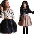Autumn Children Girl Long Sleeve Lace Dress Kids Clothes Cotton Dot Child Party Princess Tank Girl Dress school wear