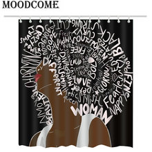 Afro Hair Style Shower Curtain Letters Bathroom White Words For The Head
