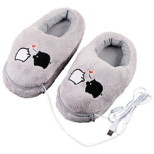 Plush USB Laptop PC Electric Heating Slippers Heated Shoes Foot Warmer Piggy New Gray E3342