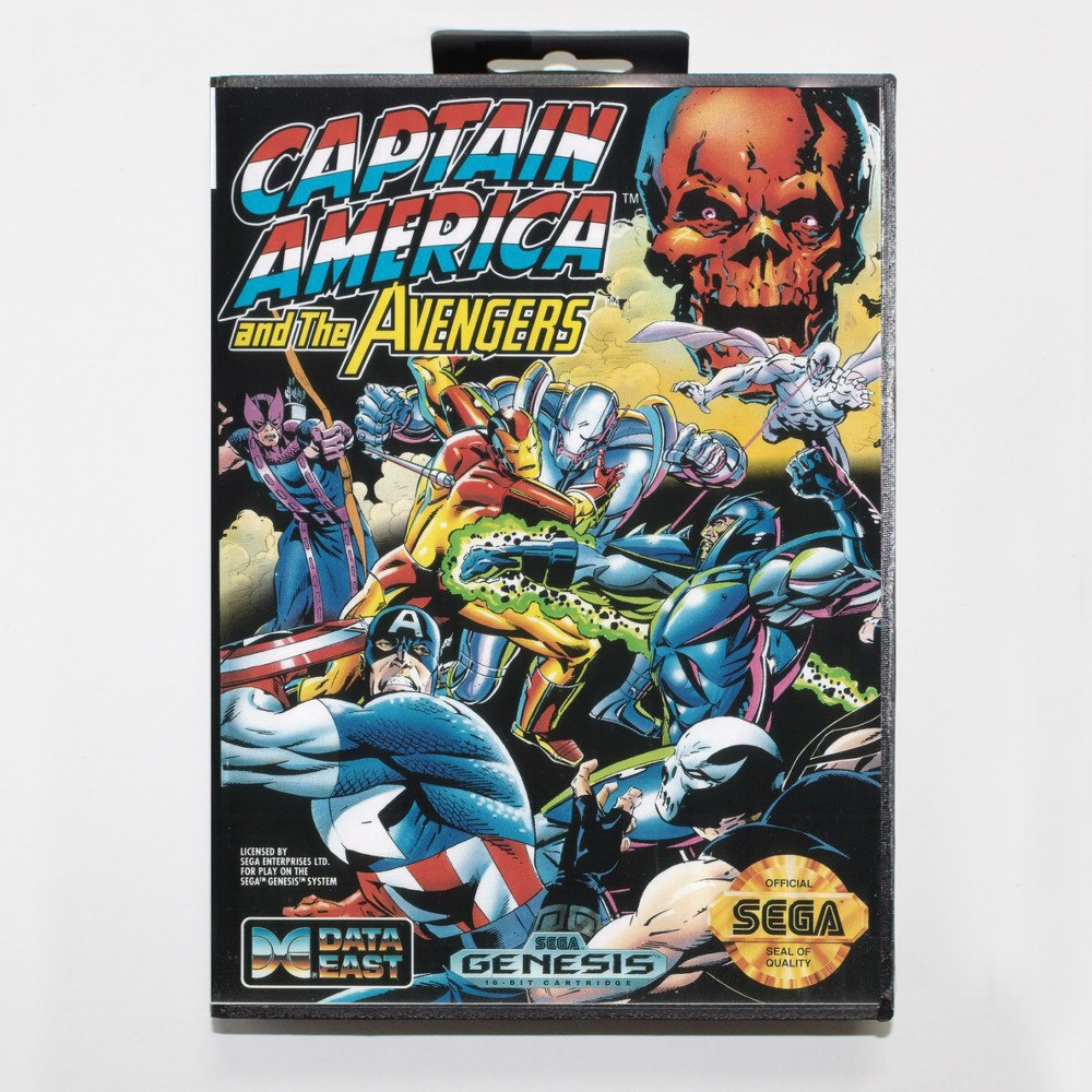 16 bit Sega MD game Cartridge with Retail box – Captain America and the Avengers game card for Megadrive Genesis system