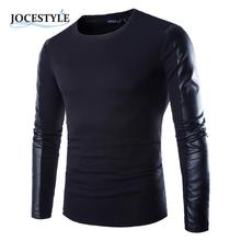 Men's Tops Shirt Clothing Black Long Sleeve PU Spell Leather Round Collar Wear Fitness Compression Shirt Men Pullover Clothing