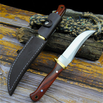 PEGASI 7HR15MOV tactical straight knife north American sharp hunting knife outdoor self-defense knife home slice knife + holster 4
