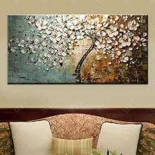 Modern White Flowers Hand-painted Abstract Oil Paintings on Canvas Wall Art
