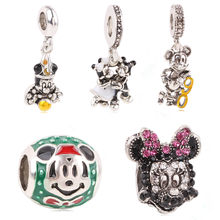 Ranqin Authentic Silver Color Mickey Minnie Clear CZ Charm Beads Fit Original Pandora Charm Bracelet DIY Brand Jewelry(China)