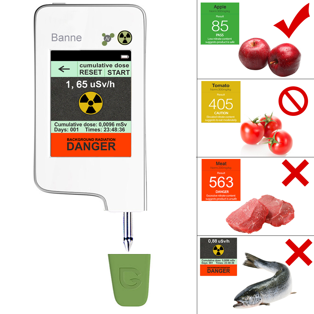 Portable Read Digital Food Tester font b Geiger b font Counter Radiation Detection Combo for Nitrate