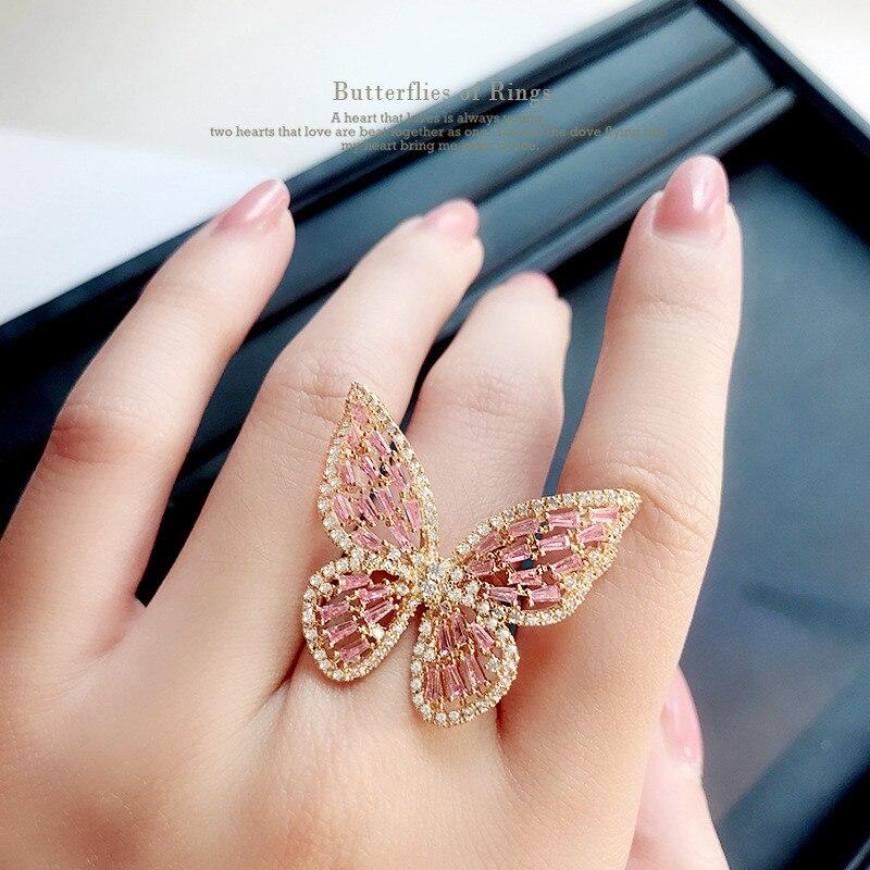 Luxo Borboleta Anéis de Liga Leve de Cor Prata de Ouro Para As Mulheres Festa de Casamento Engagement Dedo de Moda Feminina Anel Jóias anillos