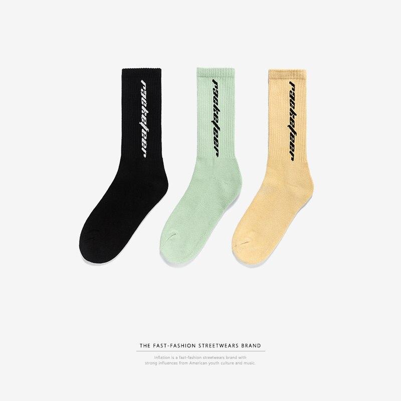 INFLATION Brand Socks Male Stockings Tide Street Hip-hop High Street 2018 Summer Black vertical letter Socks Unisex 918AI2018