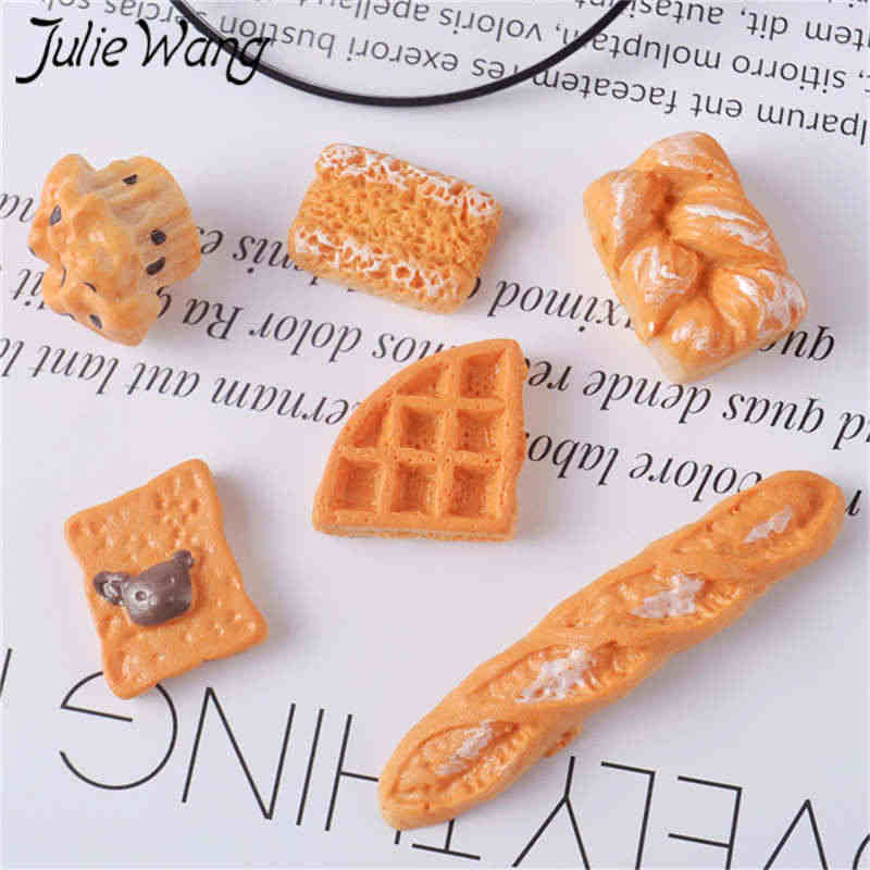 Julie Wang 20PCS Resin Bread Cake Biscuit Charms Mixed Artificial Food Slime Jewelry Making Accessory Table Decoration Props