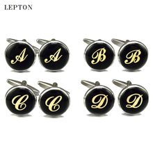 Фотография Hot Sale Real Tie Clip Letters Cufflinks For Mens Enamel Round Gold Color Letter cuff links Lepton Men shirt cuffs Cufflinks