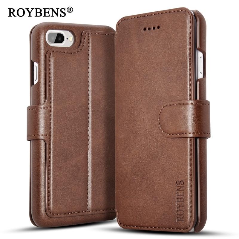 imágenes para Roybens Lujo Negocios Caja Del Cuero Genuino Para el iPhone 7 7 Plus Ranura para Tarjeta Tirón Magnético Cubierta Del Soporte de la Carpeta Para iPhone7