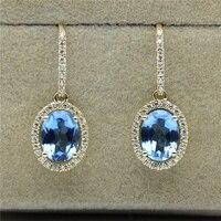 LASAMERO Oval Cut Blue Topaz 2CTW Natural Gemstone 925 Sterling Silver Plate Yellow Gold Drop Earring Halo Style Dangle Earrings