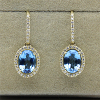 Oval Cut Blue Topaz 2CTW Natural Gemstone 925 Sterling Silver Plate Yellow Gold Drop Earring Studs
