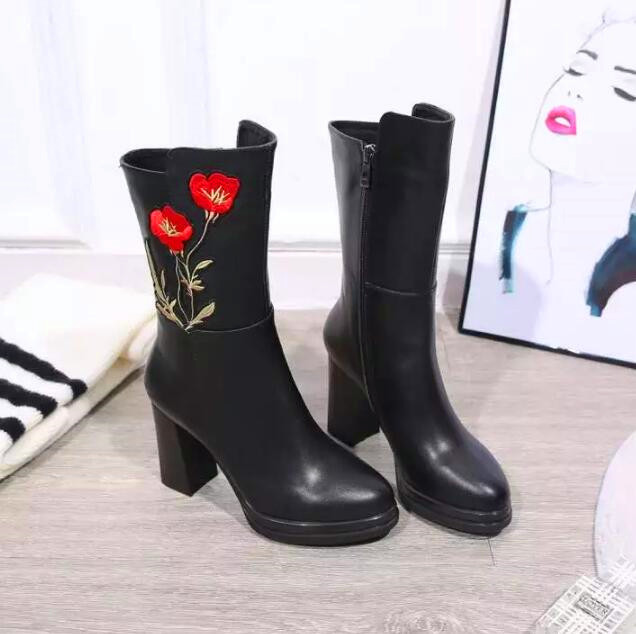 2c112f654b6 Fashion Embroidery Flower Women Black Mid-calf High Heels Platform Boots  Genuine Leather Upper High Quality Ladies Sexy Shoes