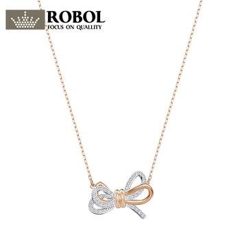 ROBOL Original New SWA 1:1 LIFELONG-BOW-Pendant 5440636 Glamorous Two-Tone Bow Necklace Valentine's Day present Pendant Necklace