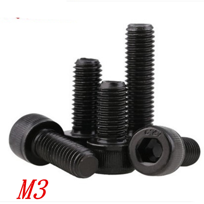 цена на 50pcs/lot DIN912 BLACK hex socket screw M3*4/5/6/8/10/12/14/16/18/20/25/30 Black Grade 12.9l Hex Socket Head Cap Screw