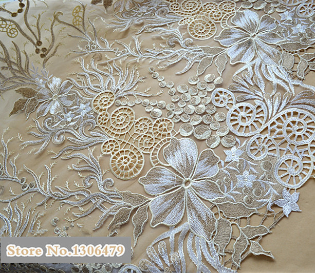 Noble Champagne Gold Lace Fabric Sequins Embroidery Lace Fashion