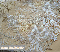 Noble Champagne Gold Lace Fabric Sequins Embroidery Lace Fashion Wedding Dress Fabric Flower Duolei Si DIY Accessories RS270
