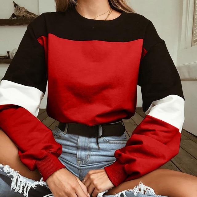 Feitong harajuku Women Hoodies Long Sleeve Loose Crop Top Sweatshirt Casual Patchwork Color Round Neck Elastic Waist Pullover